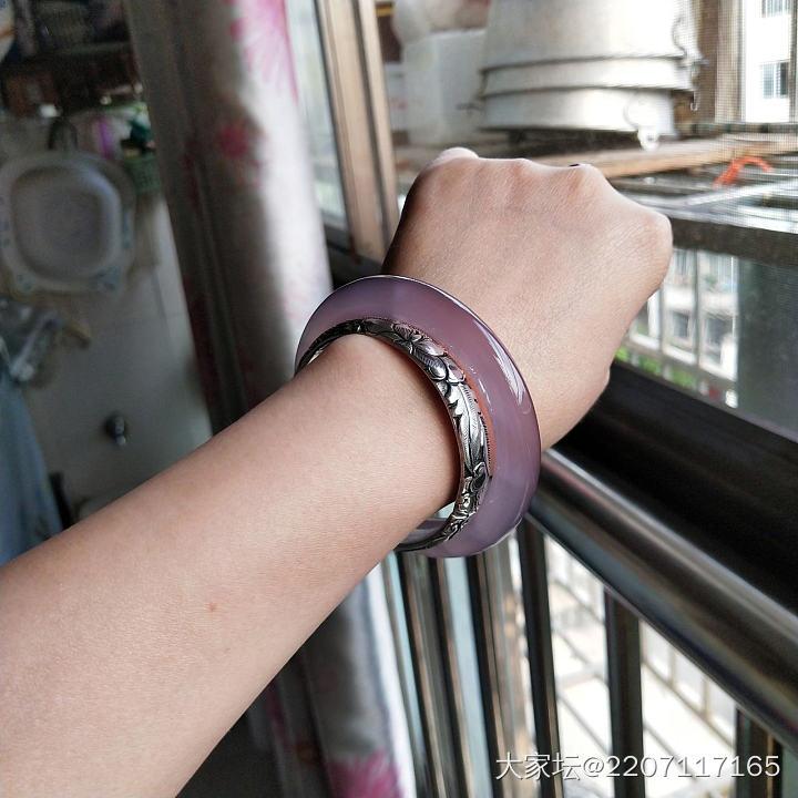 55.2/56胖圆条紫玉髓手镯_传统玉石