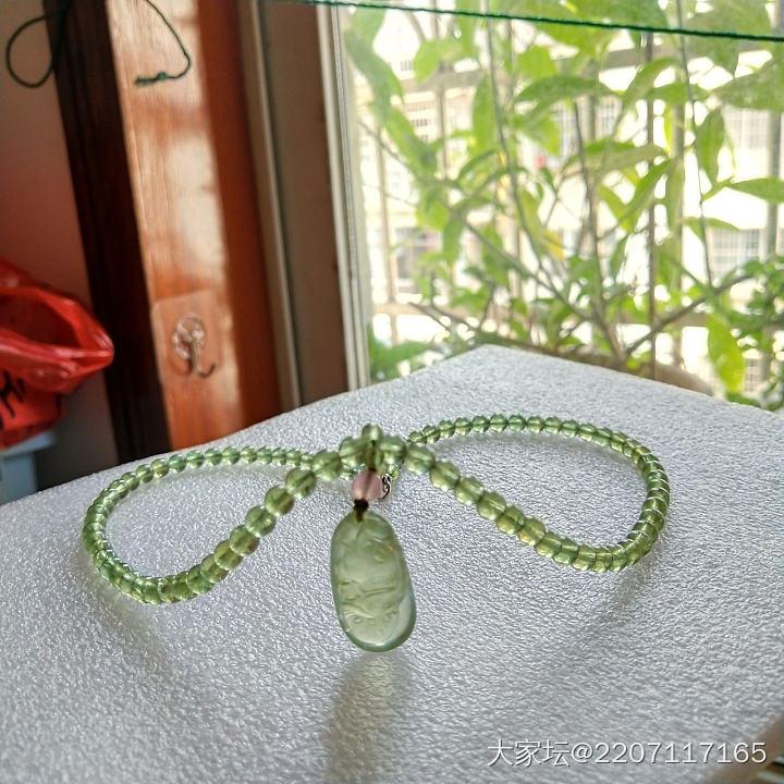 绿锂辉项链+葡萄石吊坠_彩色宝石