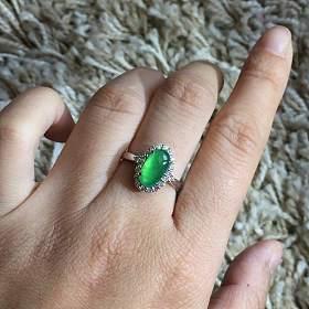 翡翠A货 正阳绿戒指