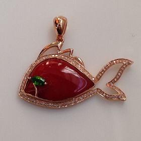 阿卡珊瑚吊坠 18k玫瑰金钻石镶嵌 年年有余 设计款 不可复制