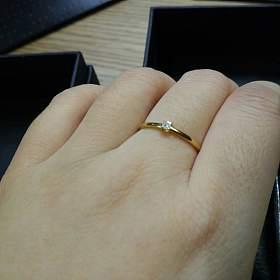 18k黄金5分公主方钻石戒指