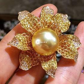 18K黄金镶嵌南洋金珠项坠胸针两用款