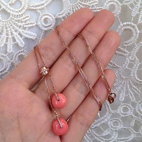 莫莫珊瑚锁骨链 18k玫瑰金钻石镶嵌 设计款 不可复制