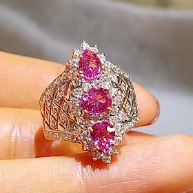 手工款无烧粉蓝宝石钻石戒指