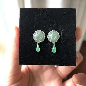 925银镶冰种翡翠花朵耳环叶子耳线