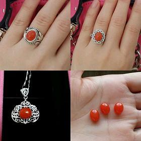 天然银镶柿子红南红戒指项链