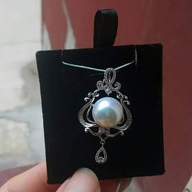 爱迪生白透粉珍珠12.5mm优雅吊坠