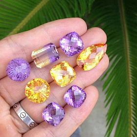 天然南非紫水晶巴西黄水晶