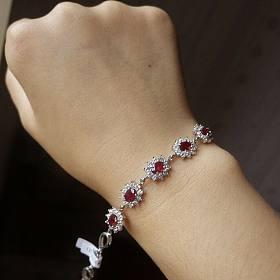 天然缅甸鸽血红宝石银镶手链有证书