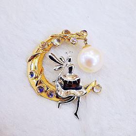 14K月亮仙女珍珠吊坠