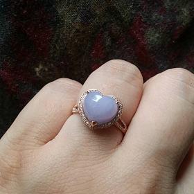 翡翠15号紫罗兰小馒头桃心戒指镂空多用珠
