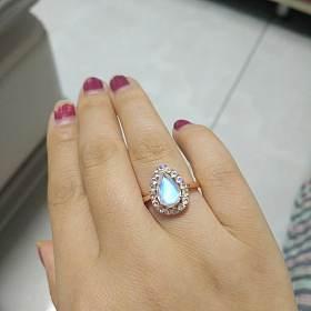 18k玫瑰金月光石戒指,耳钉