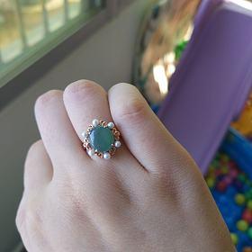 18k蓝水珍珠戒指