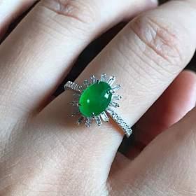 高冰起光阳绿蛋戒指