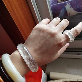 白发晶手镯+指环一套