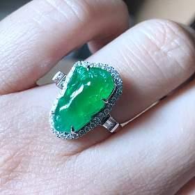高冰阳绿貔貅戒指