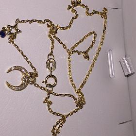 18k金钻石 蓝宝石锁骨链项链