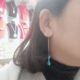 原矿绿松石随型耳线