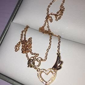 18k玫瑰金钻石爱心项链