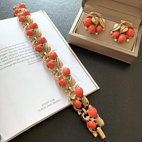 美国60年代打标翠法丽Trifari复古耳夹手链套装