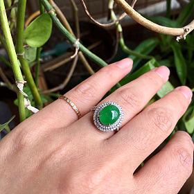 天然A货翡翠18K+钻镶嵌满绿戒指