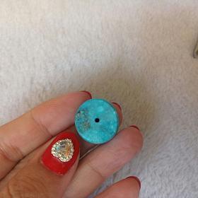 自己磨的原矿无优化高磁兰绿松鼓珠桶珠