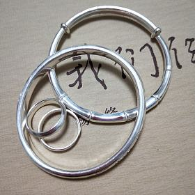 成峰三不猴银镯,光圈戒指,竹节推圈