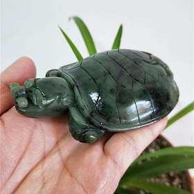 和田玉碧玉龙龟小摆件