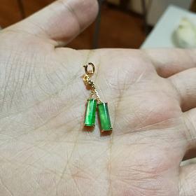 翡翠绿灯管吊坠