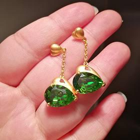 第可 欣心 绿色 水晶 耳坠足金镭射珠 素链 46cm,13g多