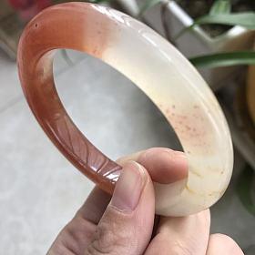 53.3圈口水沫玉手镯 橘红色