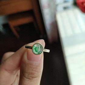 【清涟】玻璃种翡翠飘花蛋面 意境飘花戒指