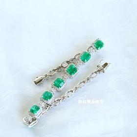 18k白金哥伦比亚祖母绿满钻手链