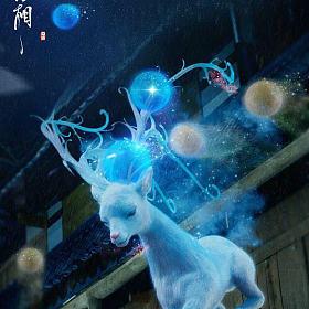 冰漂阳绿翡翠魇兽神鹿🦌梅花鹿九色鹿裸鸡