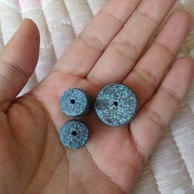 原矿无优化高磁绿松桶珠鼓珠套装 一颗料磨的