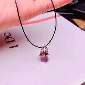 18K黄紫水晶心意吊坠