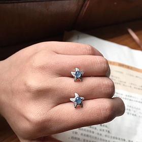 冰种蓝紫海星耳钉