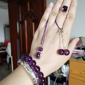天然紫水晶手链 吊坠 耳环 戒指套装