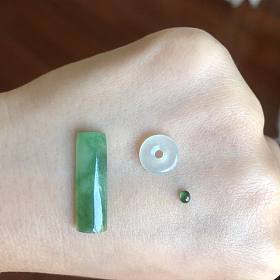 天然A货阳绿翡翠柱冰种平安扣高冰蛋面