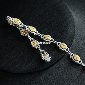 高端满钻黄钻加白钻手链