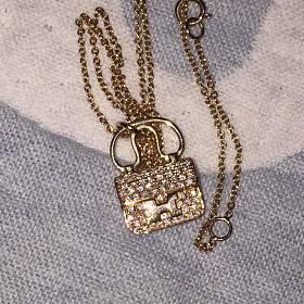 18k金康康包钻石项链 锁骨链
