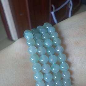 翡翠108蓝水珠串、手串、玫瑰花银手链