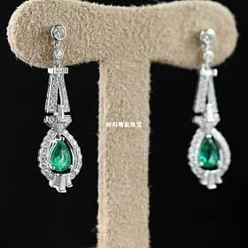 18K白金钻石祖母绿耳坠
