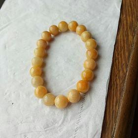 天然A货冰糯种柠檬黄翡翠圆珠手链