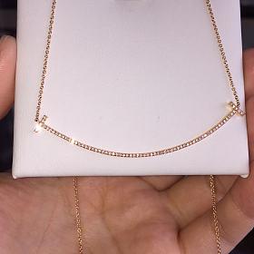 18k金大号微笑钻石项链 锁骨链 一个K白一个玫瑰金