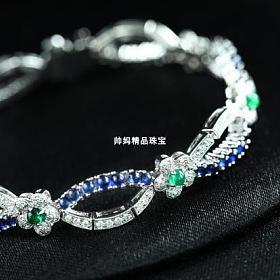 18k白金镶嵌素面祖母绿与蓝宝石钻石花朵手链
