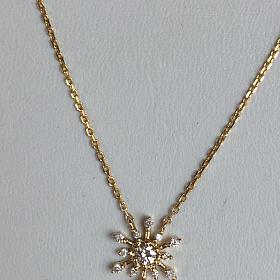 18k金钻石雪花项链 锁骨链