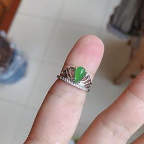 冰阳绿翡翠水滴戒指