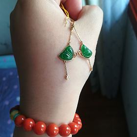 满绿翡翠蝴蝶耳环(有证书)