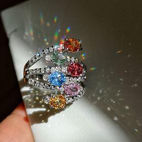 14K金2.9克拉彩色蓝宝石+69分钻石戒指